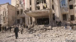 Место взрыва в Алеппо