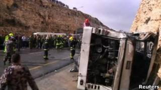 Место аварии на дороге на Западном берегу