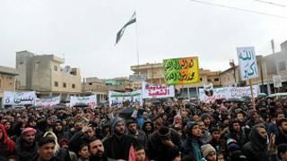 شام میں احتجاج کی ایک فوٹو