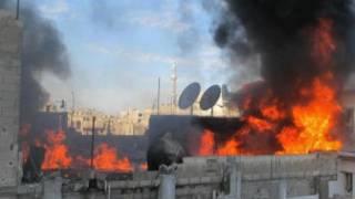 النيران تشتعل في حمص جراء القصف