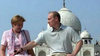 Владимир и Людмила Путины в Индии в 2000 году