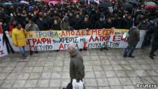 Protesto contra medidas de austeridade.   Foto: Reuters