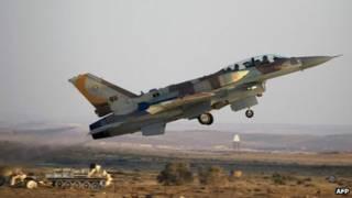 Avión F-16 de la Fuerza Aérea de Israel