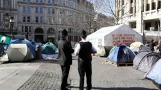 Tendas do Ocupe Londres em foto de 25 de fevereiro (AFP)