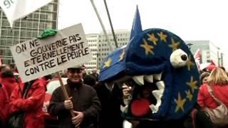 محتجون على الاجراءات التقشفية في منطقة اليورو