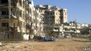 Руины домов в Хомсе