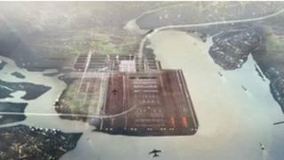 英國建築大師福斯特爵士的泰晤士河入海口新機場示意圖。