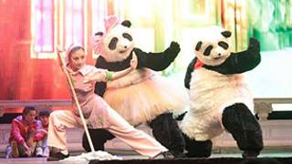 Two giant pandas and a kung fu performer