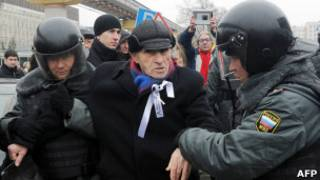 Задержание на митинге против НТВ