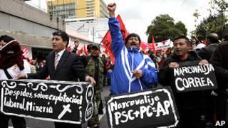 Manifestantes indígenas en Ecuador.