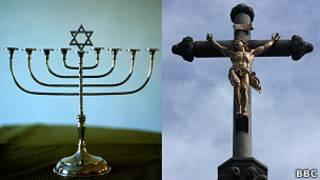 Menorah y crucifijo