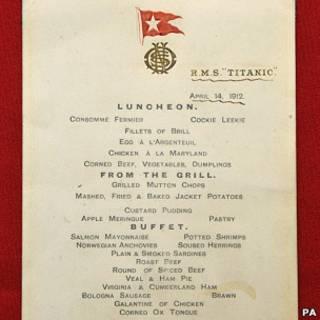 泰坦尼克菜單