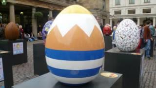 Easter eggs on display