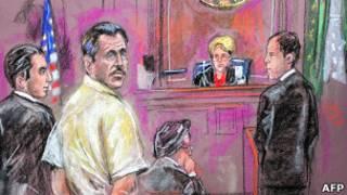 Виктор Бут стоит перед федеральной судьей Широй Шейндлин, чтобы выслушать приговор (рисунок из зала суда Ширли Шепард)