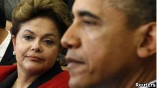 Dilma Rousseff ao lado de Barack Obama nos EUA