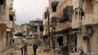 مباني مدمرة في حمص