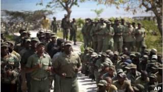Ex-militares haitianos mobilizados em Porto-Príncipe