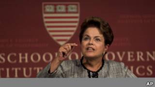 A presidente Dilma Rousseff em discurso na Universidade de Harvard