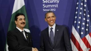 رئيس الوزراء، يوسف رضا جيلاني مع باراك أوباما