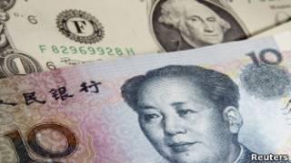 Банкноты юаня и доллара