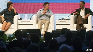 Rousseff, Santos y Obama en la Cumbre Empresarial de las Américas