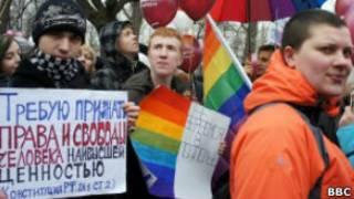 Демонстрация в поддержку прав ЛГБТ в марте 2012 года в Петербурге