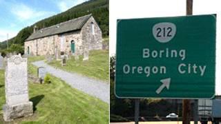 Igreja de Dull e a placa da cidade de Boring (Foto: BBC)