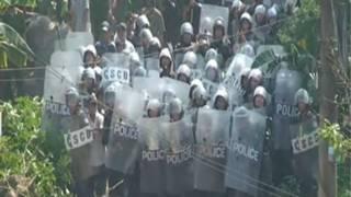 Lực lượng cảnh sát tham gia cưỡng chế ở Văn Giang