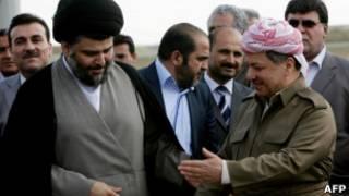 مقتدی صدر، روحانی شیعه عراقی،  مسعود بارزانی، رئیس منطقه خودمختار کردستان عراق
