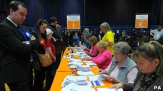 Подсчет голосов в городе Свиндон
