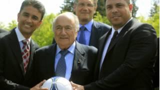 Bebeto, Blatter, Valcke e Ronaldo. Reuters