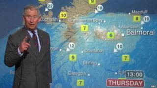 The Prince of Wales presenting a weather forecast for BBC Scotland.