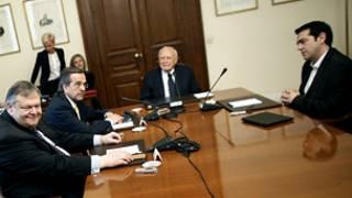 لقاء الرئيس اليوناني وقادة الأحزاب
