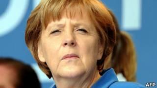 Angela Merkel no dia 11, em campanha por seu candidato na Renânia do Norte-Vestfália