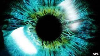 Primer plano generado por computadora del iris y la pupila de un ojo un