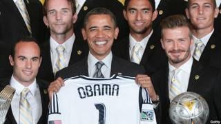 US President Barack Obama and LA Galaxy Football Team