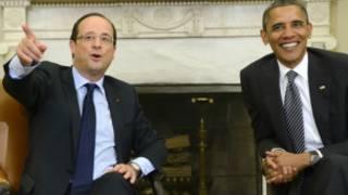 أوباما وهولاند اثناء اجتماعهما في المكتب البيضاوي في البيت الابيض