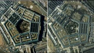 صورة بالقمر الصناعي للبنتاغون مقر وزارة الدفاع الامريكية