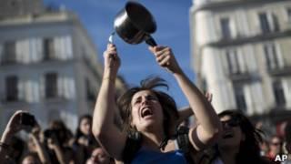 Protesto para marcar o primeiro ano do movimento dos 'indignados', na Espanha