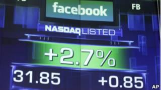 Ações do Facebook na Nasdaq nesta quarta-feira. | Foto: AP