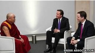 英國首相卡梅倫和副首相克萊格會見達賴喇嘛