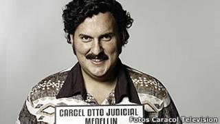 Foto de ator interpretando Pablo Escobar (Caracol Televisión)