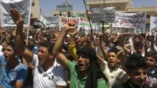 شام میں احتجاج کی فوٹو