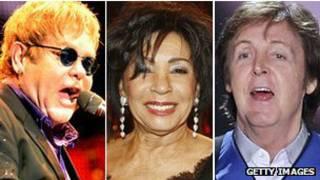 Elton John, Shirley Bassey e Paul McCarntey