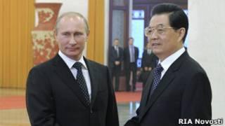 Tổng thống Nga Putin và Chủ tịch TQ Hồ Cẩm Đào