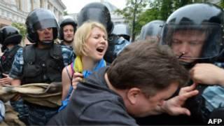 Разгон акции протеста у здания парламента Украины