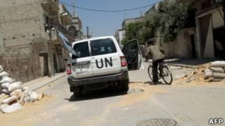 Veículo da ONU em rua da Síria (Arquivo/AFP)