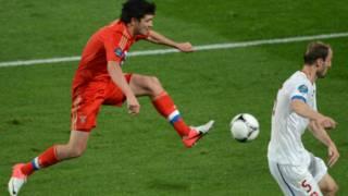 من مباراة روسيا وجمهورية التشيك