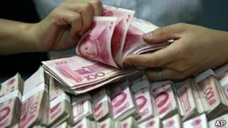 Dinero en China. Foto de archivo