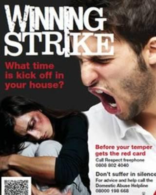 招贴画增强公众对足球赛期间家暴的认识